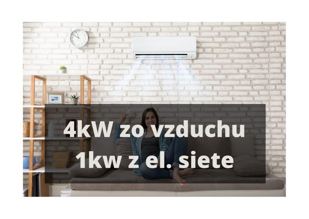 Vykurovanie klimatizáciou_4kW zo vzduchu, 1kW z el. siete